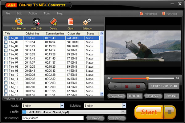 Ainsoft Blu-ray to MP4 Converter
